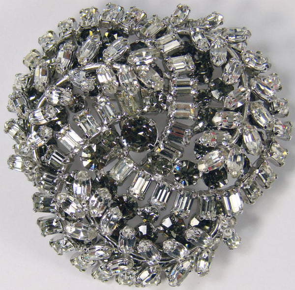 1950s Sherman Rhinestone Brooch Clear Rhinestone - Poppy's Vintage Clothing