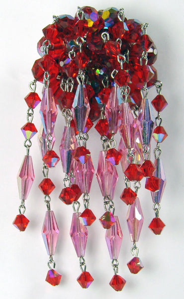 Sherman Red & Pink Crystal Brooch Dangling Waterfall - Poppy's Vintage Clothing