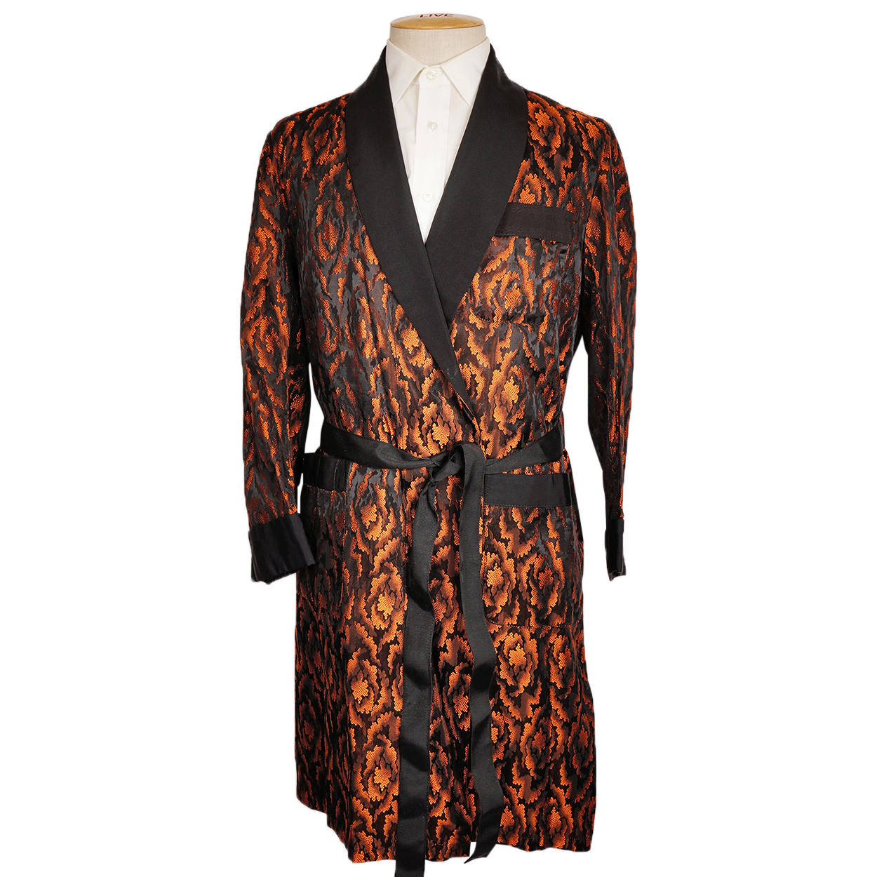 Vintage 1950s Mens Dressing Gown Orange and Black Pattern Lounging Rob