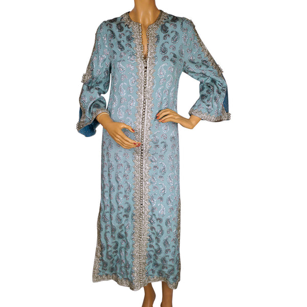 Vintage 1960s Moroccan Caftan Dress Robe Woven Silk Brocade - Size Small - Poppy's Vintage Clothing