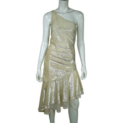 Vintage 1970s Disco Party Dress Silver Metallic Lamé One Shoulder Size Small - Poppy's Vintage Clothing
