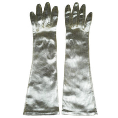 Vintage 1960s Silver Gloves Unused Futuristic Space Age Ladies Size 7 - Poppy's Vintage Clothing