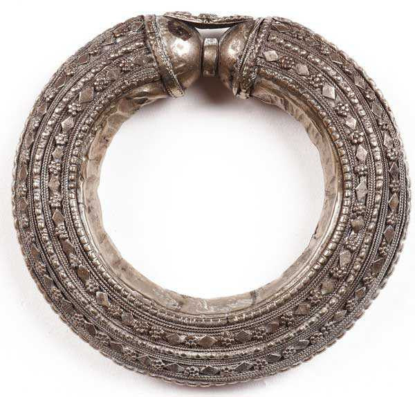 Antique Bedouin Tribal Bracelet Silver Cuff Yemeni Nomad Jewelry