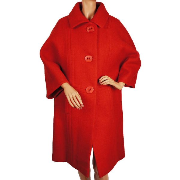 Vintage 1960s Simonetta and Fabiani Red Wool Coat - Poppy's Vintage Clothing