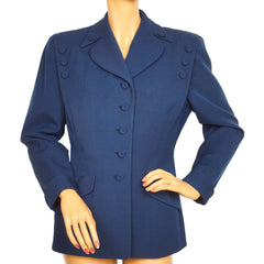 Vintage 1940s Ladies Blue Suit Jacket Simpsons Canada Size M - Poppy's Vintage Clothing