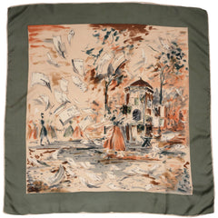 Vintage 1950s Silk Twill Scarf Windy Paris Street Scene Illustration Newspapers - Poppy's Vintage Clothing