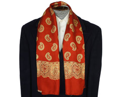 Vintage English Silk Scarf 1940s Paisley Print on Red Simpsons Opera Foulard - Poppy's Vintage Clothing