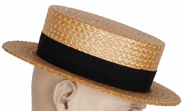 Authentic 1920s Straw Boater Hat Mens Size 7 Medium 63e5250755a