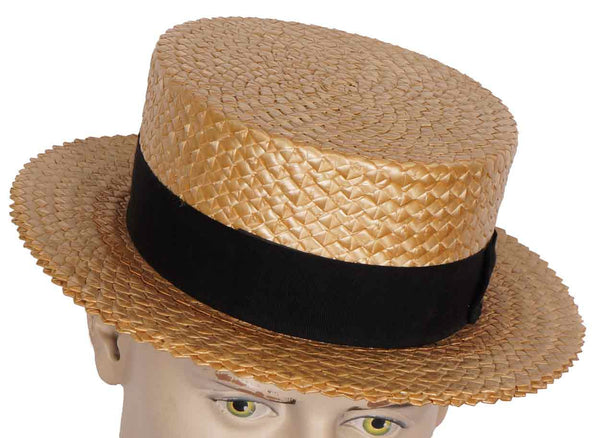 Authentic 1920s Straw Boater Hat Mens Size 7 Medium - Poppy's Vintage Clothing