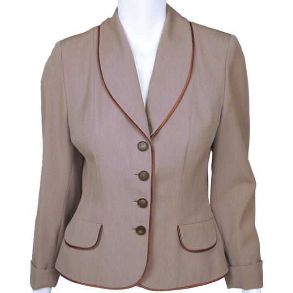 Vintage 1950s Suit Jacket Saltaire Wool Fabric Made in England Ladies Size Small - Poppy's Vintage Clothing