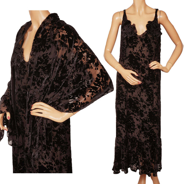 Vintage Sonia Rykiel Paris Black Devore Velvet Dress Sleeveless w Shawl Wrap Size L 12 - Poppy's Vintage Clothing