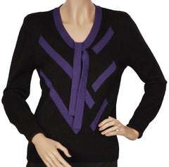 Vintage 1980s Sonia Rykiel Sweater Purple Stripes on Black Wool M - Poppy's Vintage Clothing