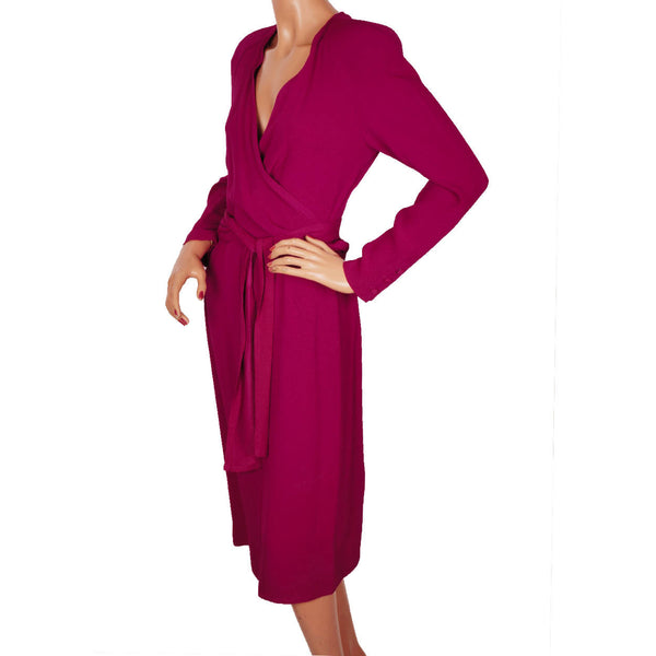 Vintage 1980s Sonia Rykiel Magenta Crepe Dress w Wraparound Top Size M - Poppy's Vintage Clothing