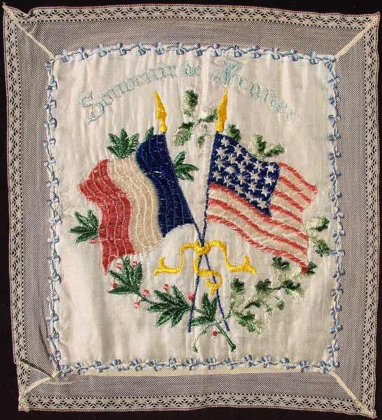 Vintage WWI Patriotic United States & France Souvenir Cushion Cover - Poppy's Vintage Clothing
