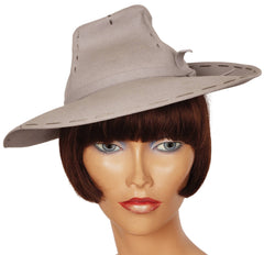 Vintage-40s-Ladies-Gray-Felt-Fedora-Hat