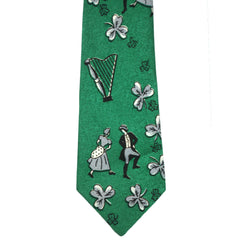 Vintage 1950s Irish Necktie St Patrick's Day Ireland Motifs Green Mens Fifth Ave - Poppy's Vintage Clothing
