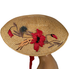 Vintage 1940s Straw Platter Hat Embroidered Flowers One Size