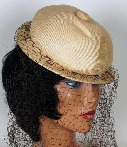 1960s veiled straw hat - patrick de couture
