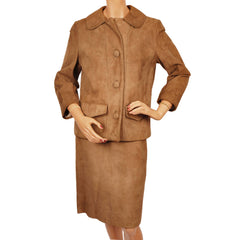 Vintage 1960s Suede Leather Ladies Suit 2 piece Jacket and Skirt Size M - Poppy's Vintage Clothing