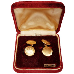 Vintage-Swank-Gold-Filled-Chain-Link-Cufflinks-in Box