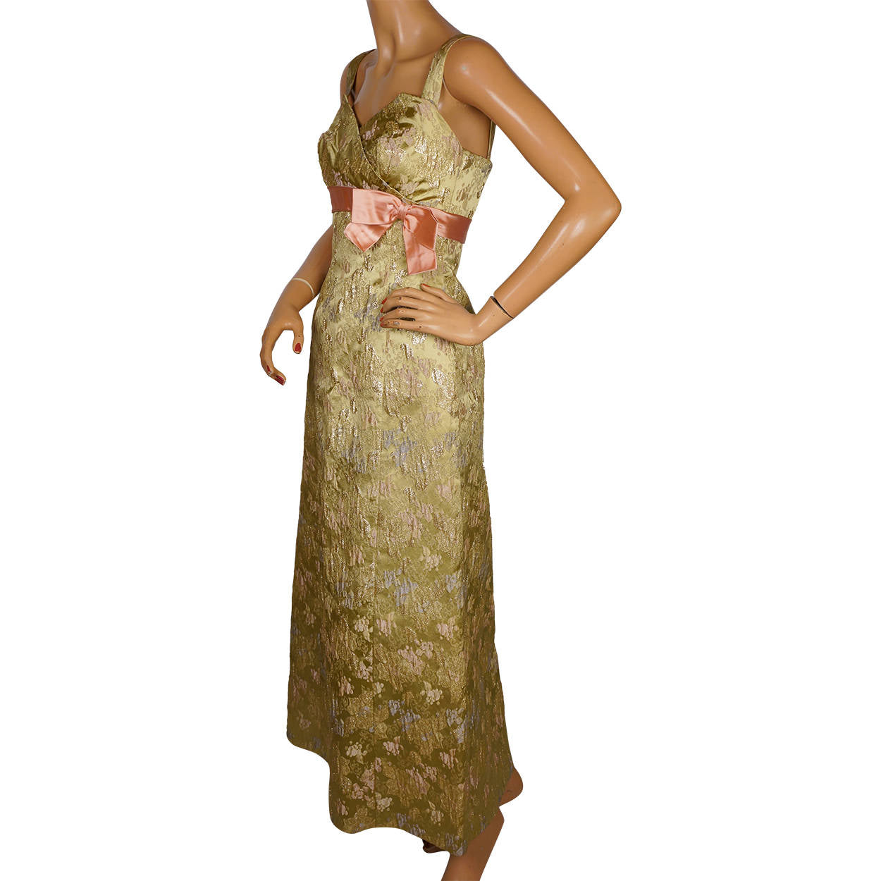 b3e962c943cf Vintage 1960s Evening Gown Gold Lame Brocade Switzerland Long Dress Si