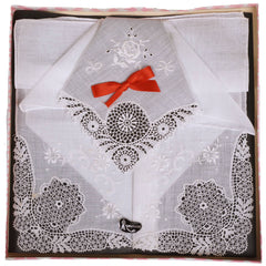 Vintage Swiss Cotton Lace Handkerchief Wedding Hankie Unused in Box Switzerland - Poppy's Vintage Clothing