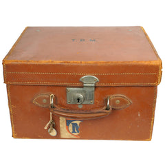 Vintage 1920s Top Hat Leather Travel Case Scotts London Luggage with Provenance - Poppy's Vintage Clothing