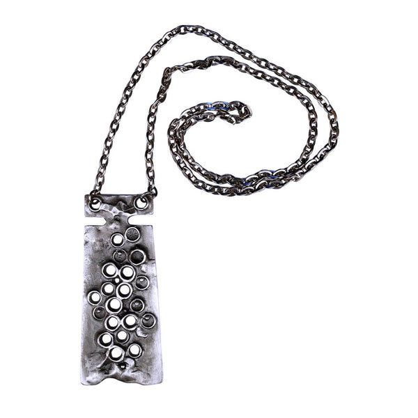 Modernist-Try-Sweden-Pewter-Pendant-Necklace
