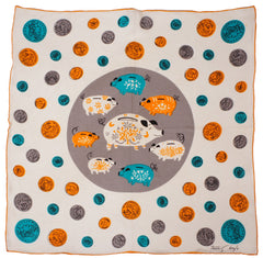Tammis Keefe Silk Piggy Bank Handkerchief