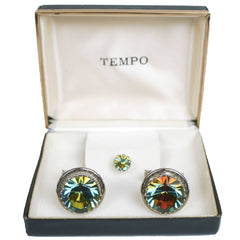Vintage Unused Watermelon Rhinestone Cufflinks Set NOS