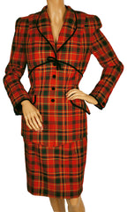 Vintage 1980s Thierry Mugler Plaid Wool Suit - Ladies Size 38 - M - Poppy's Vintage Clothing