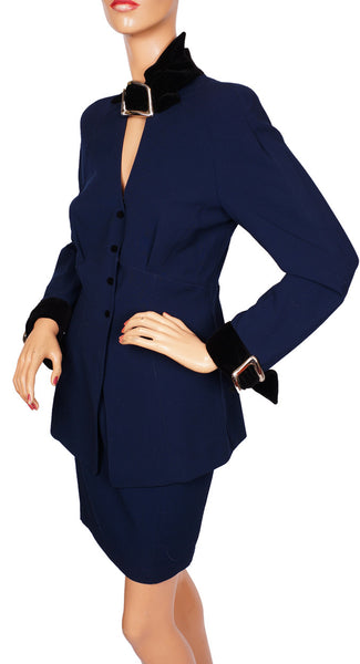 1980s Thierry Mugler Suit in Blue Worsted Wool