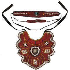 Vintage Tibetan Coral Beaded Breastplate Bib Collar w Belt and Necklace - Poppy's Vintage Clothing