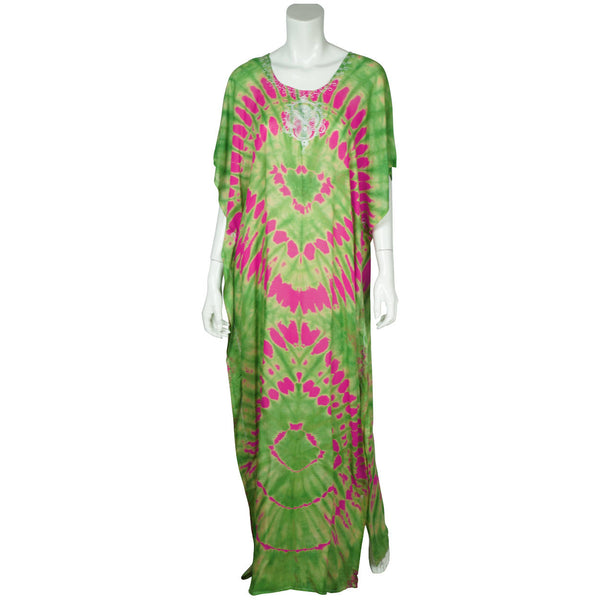 Vintage 1960s Kaftan Tie Dye Cotton Green w Neon Pink Caftan Ladies Size M - Poppy's Vintage Clothing