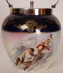 Antique BISCUIT BARREL Hand Painted TOBOGGANING Porcelain Cookie Jar Group on Toboggan - Poppy's Vintage Clothing
