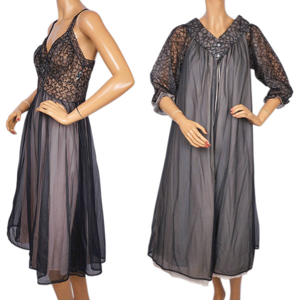 Trillium-Black-Lace-Nylon-Peignoir-Nightie-Set