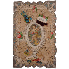 Antique Victorian Valentine Greeting Card w Cupid & True Love Wishes - Poppy's Vintage Clothing