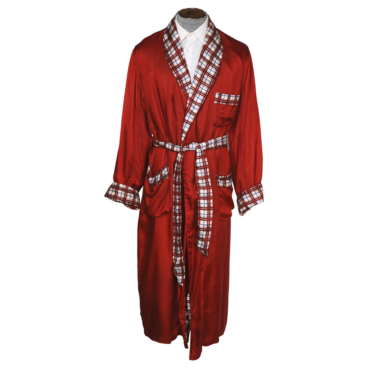 Vintage 1950s Mens Dressing Gown Red W Plaid Tulipe Smoking Lounging Robe L Xl