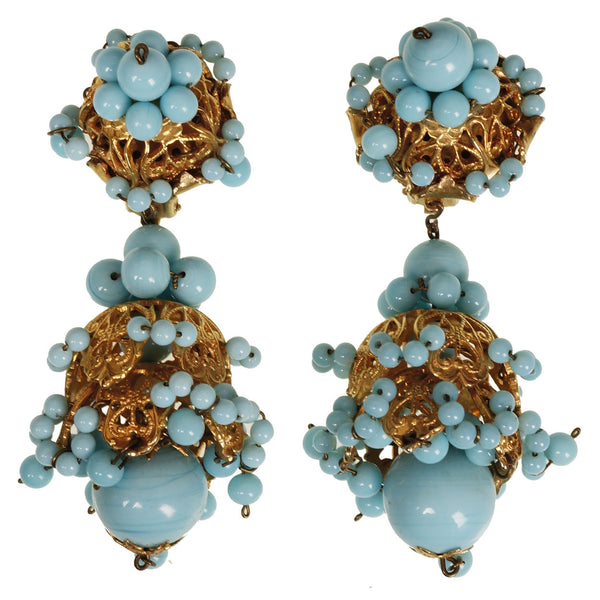 Vintage 1950s Turquoise Glass Drop Earrings - Poppy's Vintage Clothing