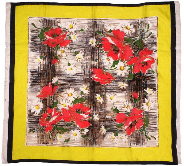 Vintage Unused Silk Scarf Gold Silkscreened Floral Pattern Unfinished Edge 1950s NOS - Poppy's Vintage Clothing