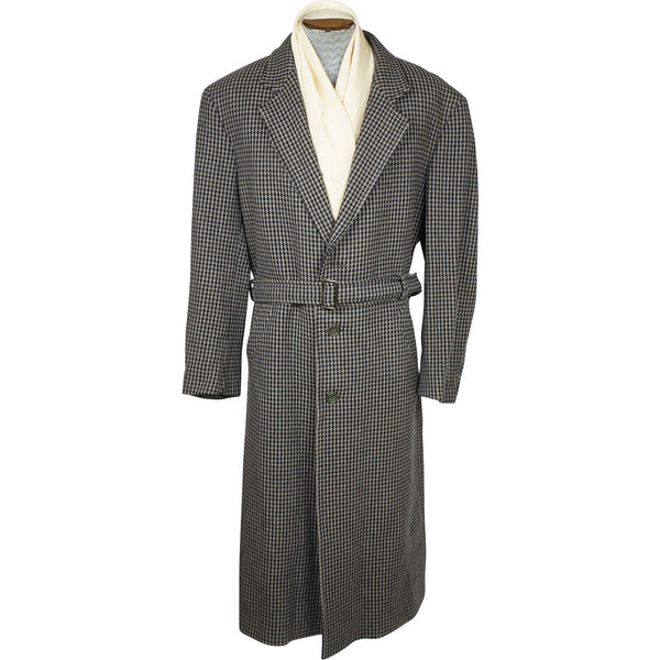 Vintage Mens Ungaro Paris Overcoat Tweed Wool Cashmere Coat Made in italy Sz 42 - Poppy's Vintage Clothing