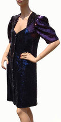 Vintage 1980s Dress - Emanuel Ungaro - Purple and Blue Sequins - Poppy's Vintage Clothing