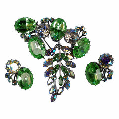 Vintage-Green-Rhinestone-Demi-Parure-Brooch-Earrings