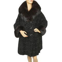 Vintage 1950s Black Velvet Brocade Coat Velourette by Entire w Fox Fur Trim Ladies L XL - Poppy's Vintage Clothing