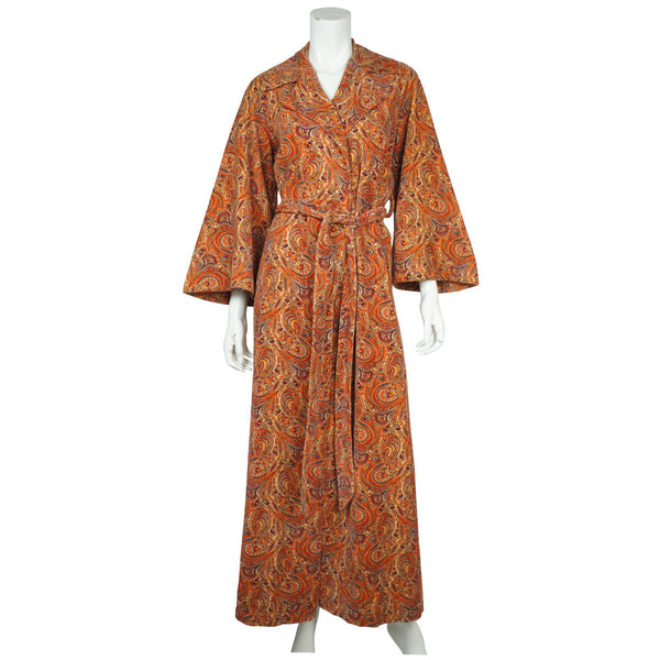 Vintage 1960s Paisley Velvet Dressing Gown Liberty Print Fabric Ladies Size M - Poppy's Vintage Clothing