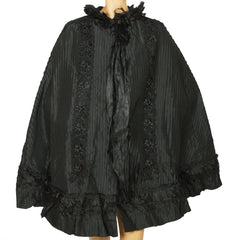 Antique Victorian Mourning Cape Black Silk Hip Cloak with Lace Ribbon Decoration - Poppy's Vintage Clothing