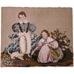 Antique needlepoint boy and girl and cat