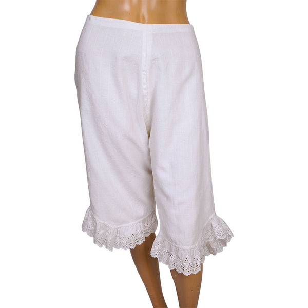 Antique Victorian White Woven Cotton Drawers with Eyelet Trim Ladies Underwear - Poppy's Vintage Clothing
