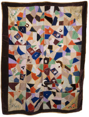 Antique Victorian Crazy Quilt Velvets Woven Silks Cats Mice Dwarves 55 x 72 1890 - Poppy's Vintage Clothing