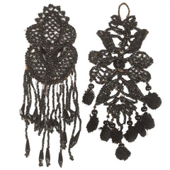Antique Victorian French Jet Tassel Appliques - Poppy's Vintage Clothing